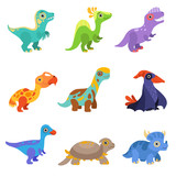 Fototapeta Dinusie - Collection of cute dinosaurs, colorful baby dino cartoon characters vector Illustration