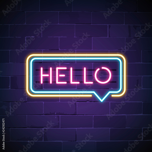 Pink hello in a speech bubble neon sign vector Tableau sur Toile