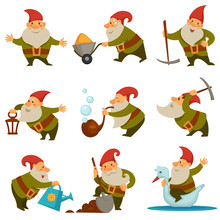 Gnome With Mining Instrument For Getting Gold Isolated