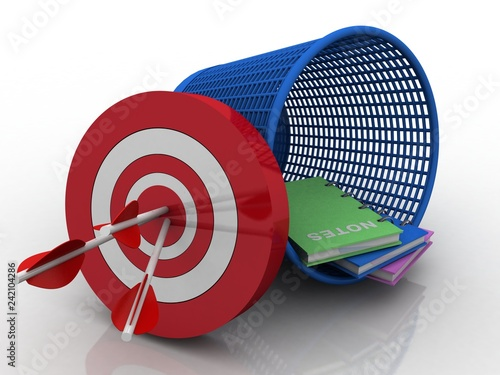 Photo  3d rendering books in recycle bin with target
