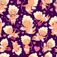 Angels Seamless Pattern. Love Valentines Day Pink Hearts Cute Angels With Bow Vector Cartoon Characters Background. Illustration Of Valentine Angel And Amour Character