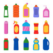Detergent bottles. Cleaning products container household items laundry service vector flat illustrations. Detergent bottle container isolated for hygiene and household