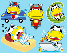 Vector Set Of Little Cow Cartoon