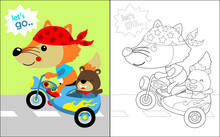 Vector Illustration Of Coloring Book With  Animals Cartoon On Motorcycle