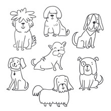 Set Of Cute Handdrawn Dogs Illustrations Isolated