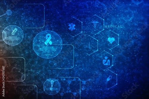 Photo  2D illustration medical structure background