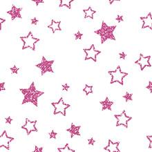 Pink Star Pattern. Glitter Look.