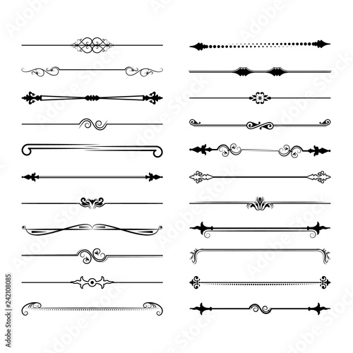 Fototapety, obrazy: Collection of vector dividers. Can be used for design, letters, jewelry, gifts, notebooks