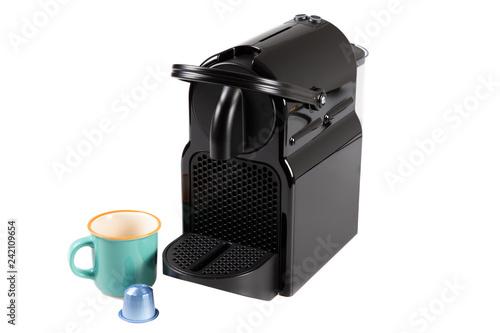 Color photo of black home coffee machine Fototapeta