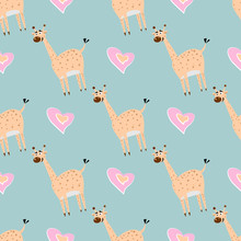 Seamless Pattern With Cute Giraffe. And Heart Creative Texture For Fabric, Textile.