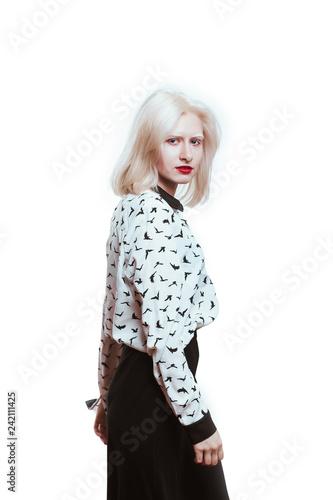 Fotografie, Obraz  portrait blonde albino girl in studio on white background