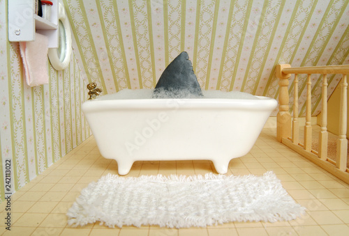 Fényképezés  Shark fin in bath tub in bathroom setting