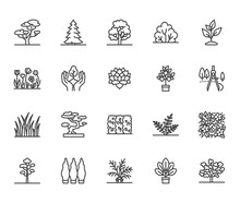 Trees Flat Line Icons Set. Pla...