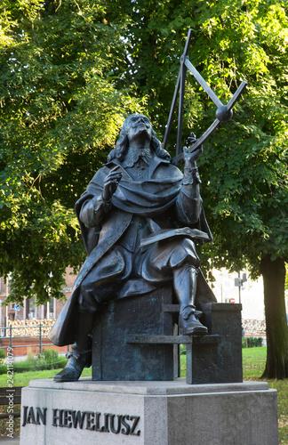 Tuinposter Historisch mon. Monument to Johannes Hevelius in Gdansk. Poland