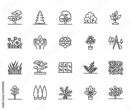 Blanc Trees flat line icons set. Plants, landscape design, fir tree, succulent, privacy shrub, lawn grass, flowers vector illustrations. Thin signs for garden store. Pixel perfect 64x64. Editable Strokes