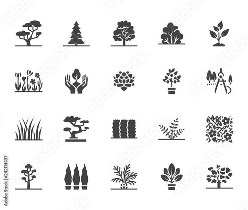 Canvastavla Trees flat glyph icons set