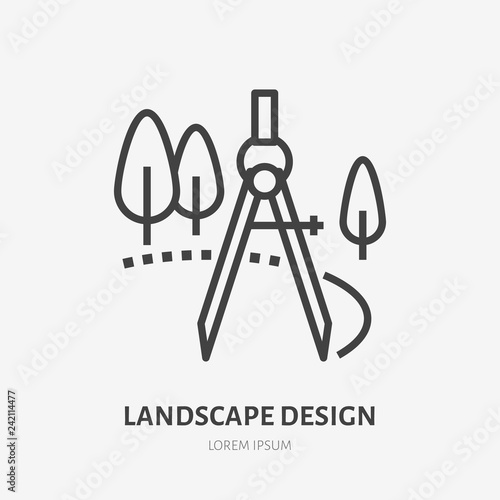 Landscape Design Flat Line Icon Vector Thin Sign Of Landscaping