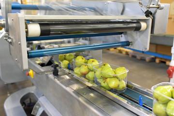 modern packaging machine for fresh pears in a factory for food industry // Verpackungsmaschine für Obst/ Birnen in Folie für den Verkauf im Supermarkt