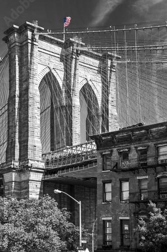 Foto op Canvas Amerikaanse Plekken Close up of a pillar of the Brooklyn bridge, New York City, USA