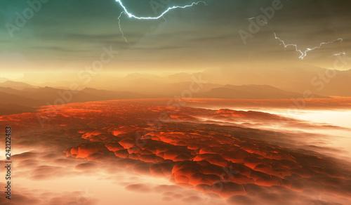 Photo Surface of Venus. Hot lava flows on Venus