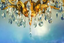 Crystal Chandelier Close-up. Gradient Pastel Background, Sparkling Background