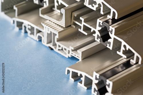 Fotografie, Obraz  Aluminium anodized profile cross section pvc aluminium composite closeup