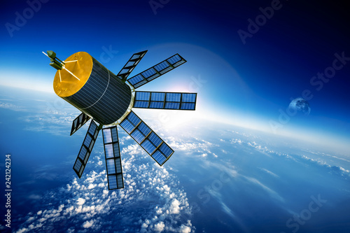 Fototapeta premium Satelita kosmiczny na planecie Ziemia