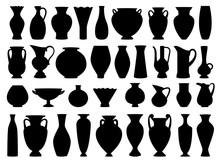 Vintage Greek Vases Black Silhouette On White Background, Vector Illustration