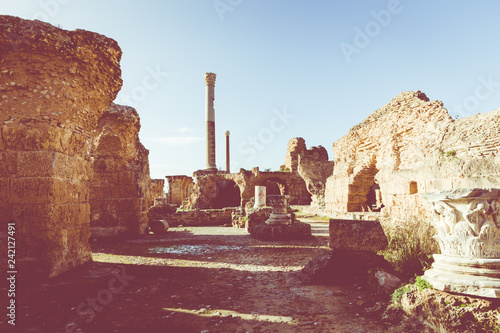 Spoed Foto op Canvas Historisch geb. Ruins of the ancient Carthage city, Tunis, Tunisia, North Africa.