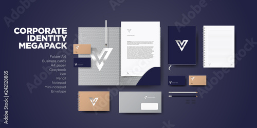 Fototapeta Corporate branding identity premium design. Stationery mockup vector megapack set. Template for business or finance company. Folder and A4 letter, visiting card and envelope. obraz