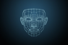 Human Face, Triangular Glowing Grid, Biometric Verification - Face Recognition. Technology Of Face Recognition On Polygonal Grid Is Constructed By The Points Of IT Security And Protection.