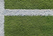 White Strip In The Field For Football. Green Texture Of A Football, Volleyball And Basketball Field