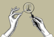 Female Hands With Holding Magnifying Glass And Postage Stamp With The Eiffel Tower