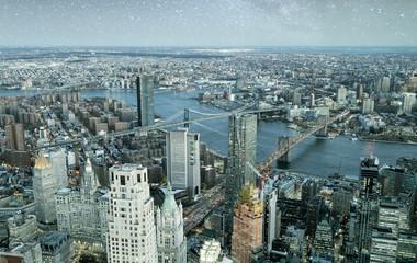 Panel Szklany Nowy York Brooklyn, Manhattan and Williamsburg Bridge at night, amazing aerial view of New York City - USA