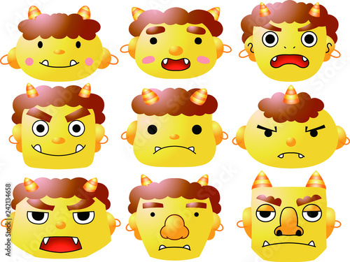 Photo Stands Illustrations Cute japanese yellow Gradation demon Mask set