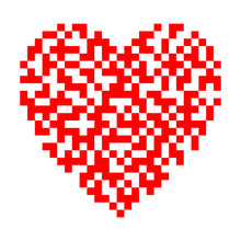 Red Heart Of Qr Code. Concept Of Digital Love. Vector Illustration