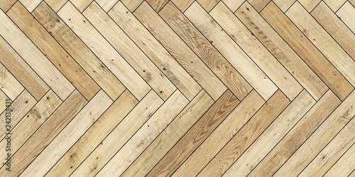 Fotografía  Seamless wood parquet texture horizontal herringbone light brown