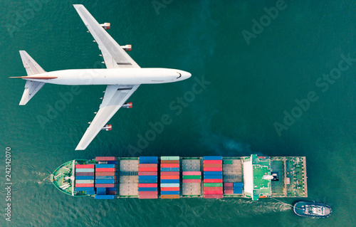 Fényképezés  Aerial view logistics and transportation of Container Cargo ship and Cargo plane  for import export and transportation background