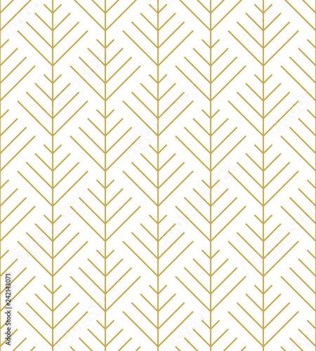 Herringbone ornament in gold. Seamless vector pattern - 242143071