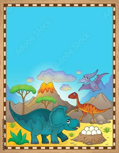 Keuken foto achterwand Voor kinderen Dinosaur theme parchment 3