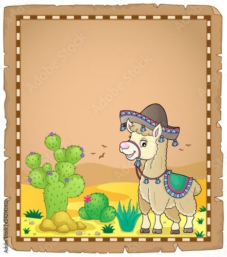 Keuken foto achterwand Voor kinderen Llama in sombrero theme parchment 1