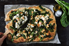 Healthy Homemade Pizza With Spinach And Feta.