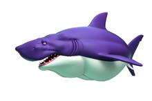 Shark Cartoon On White Background