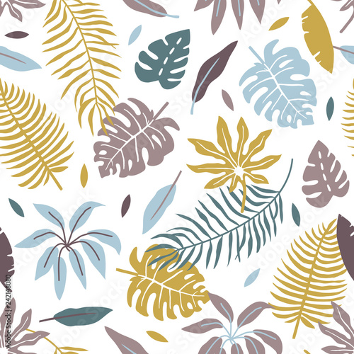 Fototapeta vector seamless background pattern with funny simple tropical leaves and flowers for fabric, textile obraz na płótnie
