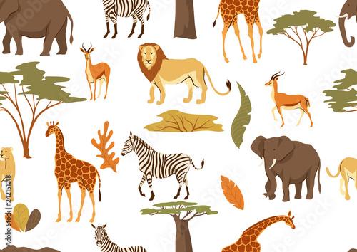 Canvas Print Seamless pattern with African savanna animals.