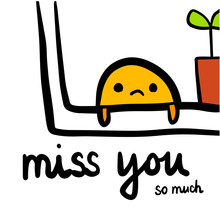 Miss You Hand Drawn Illustrati...