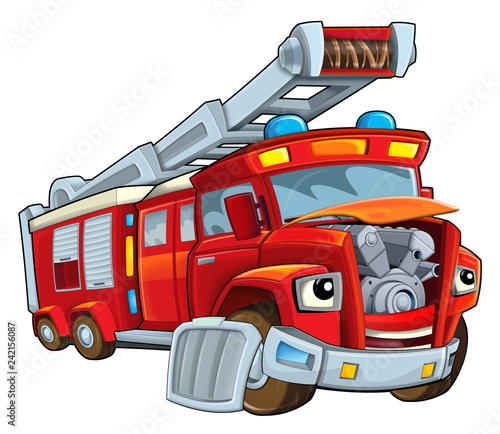 Fototapety, obrazy: Cartoon happy and funny cartoon fire fireman bus looking and smiling - illustration for children