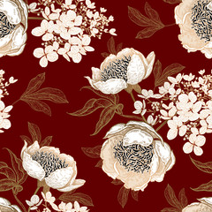 Panel Szklany Podświetlane Peonie Seamless pattern with peonies and hydrangea flowers. Vector background.