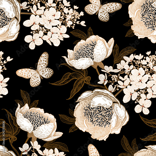 Seamless pattern with peonies, hydrangea flowers and butterflies. Vector background.