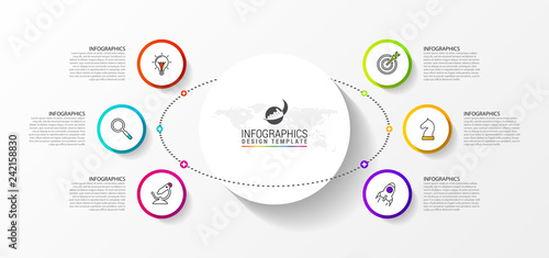 Tela  Infographic design template. Creative concept with 6 steps